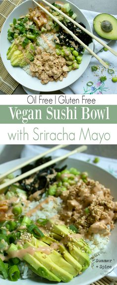 Vegan Sushi Bowl with Oil Free Sriracha Mayo | Vegan Sushi Bowl | Gluten Free Sushi Bowl | Easy Vegan Sushi Bowl | Tofu Sushi Bowl | Healthy Vegan Dinner and Lunch | Avocado Sushi Bowl | Vegan Sushi Without Seaweed | Vegan | Vegan Dinner Ideas | Whole Food Plant Based No Oil