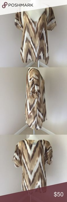 Show me your mumu top Show me your mumu top. In great condition. Fun to wear with a tank or bralette. Or even over your swim suit. I wears medium and the fits. This top runs a little larger.. that is the look of it Show Me Your MuMu Tops