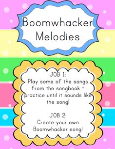At this center students play songs on the Boomwhackers. They have a couple of options: they can play the already made songs (see below...