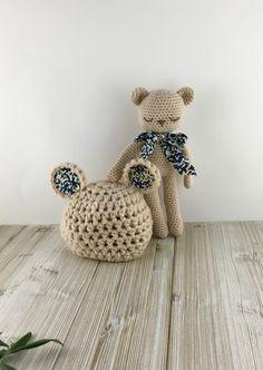 """Newborn Crochet TEDDY Gift Set - Newborn Teddy Hat and a Stuffed Animal Boy with """"bow tie"""" -  baby gift, newborn baby boy gift crochet,"""