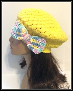 Beret style Beanie with attached Bow - Crocheted - Ready to Ship!!! by ItsNotWeird on Etsy