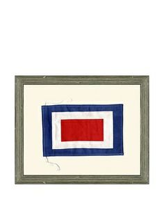 "Framed Maritime Letter W ""Whiskey"" Signal Flag"
