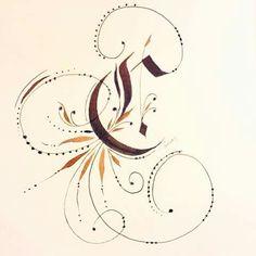 Fraktur C - pilot parallel pen 6.0, walnut ink,  by Stella Wong.