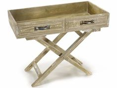Mobiletto in legno anticato con maniglie in metallo  cm 48 x 25,5 x 37 H Pieghevole - Da chiuso: 14 H - Con rivestimento interno