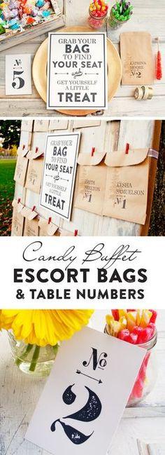 Candy Buffet Escort Bags - DIY Wedding Seating + FREE printable table numbers. www.mavora.com