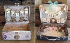 Vintage luggage to hold gift cards at wedding gotta do this with sis and a trip to micheals or?