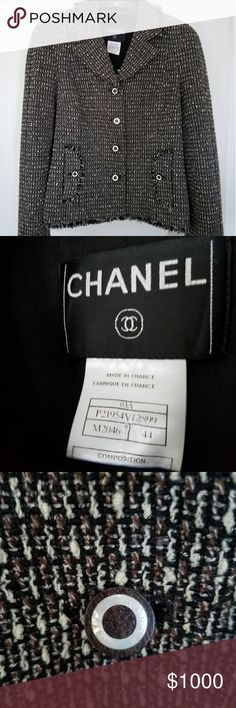 CHANEL Fantasy Tweed 03A jacket 44 Made in France Stunning CHANEL Fantasy Tweed jacket from the 03A collection. Excellent pre-owned condition. Size 44 - would fit oversize on a medium, regular on large, or snug on extra large. Brown, black, and beige tweed with fringe cuffs and hem. Silver chain at bottom. Mother of pearl CHANEL PARIS buttons. 92% wool 8% nylon exterior, 95% silk 5% spandex interior. Black logo on interior silk lining. No signs of wear, snags, tears, stains, scents, or…