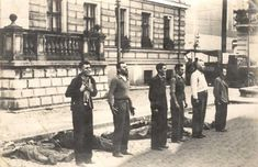The different expressions of six Polish civilians moments before death by firing squad, 1939.