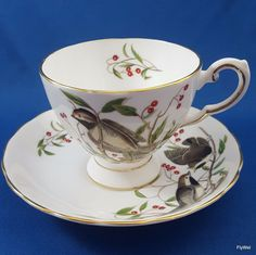 Tuscan Audubon Birds Chickadee Tea Cup and Saucer Set RH & SL Plant Bone China #RHSLPlant