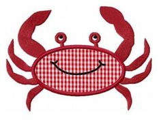 Summer crab applique machine embroidery design