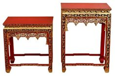 PAIR OF RED AND GOLD ASIAN SIDE TABLES WITH INSET MIRROR TILES    $750