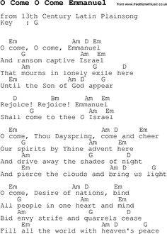 Christmas Songs and Carols, lyrics with chords for guitar banjo for O Come O Come Emmanuel
