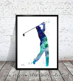 Golf Watercolor Painting Print Golf art by WatercolorBook on Etsy