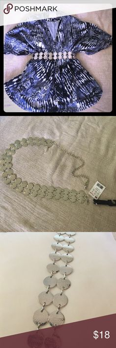 Chain belt Super stylish silver tone two row chain belt. Brings life to any outfit! Size small/ medium. 27 inches of silver circle pattern. 41 inches long from clasp to end of belt. NWT. Brand new never worn. MadRag Accessories Belts