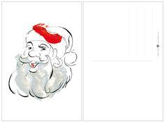 Postal navideña Papa Noel (FREEBIE) #Christmas #Christmascard #freebie #SantaClaus #Navidad #postalnavideña #imprimible #base12