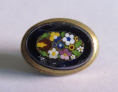 Micro Mosaic Waistcoat Antique Flower Basket Button Micromosaic Old