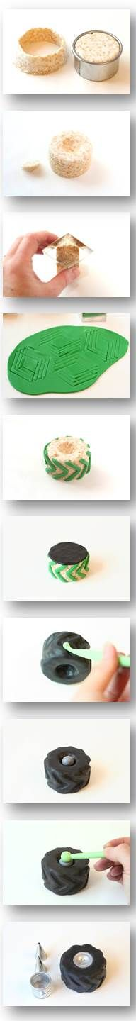 Fondant Tires:  Uses Rice Krispie form.