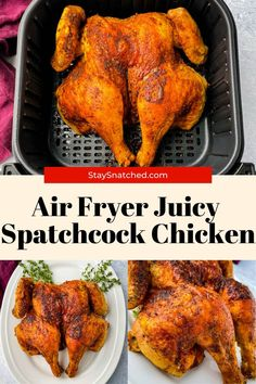 This Air Fryer Spatchcock Chicken is an easy recipe that will show you how to butterfly a whole chicken in the air fryer on a flat surface. It cooks at an even and consistent temperature, resulting in tender and juicy meat! #AirFryerSpatchcockChicken Duck Recipes, Turkey Recipes, Chicken Recipes, Roasted Sprouts, Roasted Carrots, Healthy Roast Dinner, How To Cook Duck, Spatchcock Chicken, Roast Duck