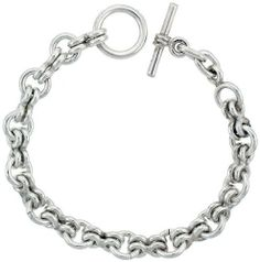 Sterling Silver Rolo Link Bracelet w/ Toggle Clasp 3/8 inch (10 mm) wide, 8 inch long Sabrina Silver. $268.80