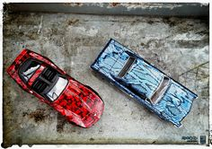 Hydro dip Corvette C3 Stingray and Pontiact GTO 1:18 custom scale models by www.modelcarworkshop.nl. Dip by www.hydrodiphelmond.nl
