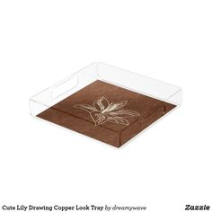Cute Lily Drawing Copper Look Tray