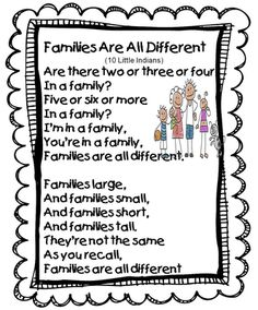 Families Are All Different Song (Tune: Ten Little Indians). This song could be a great start to a unit about culture and the kids can learn about what makes their family different and unique. Preschool Family Theme, Preschool Songs, Preschool Themes, Preschool Lessons, Preschool Classroom, Kids Songs, In Kindergarten, Ten Little Indians, All About Me Preschool