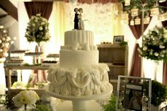 bolo casamento tradicional laços drapeado listras rosas - wedding cake