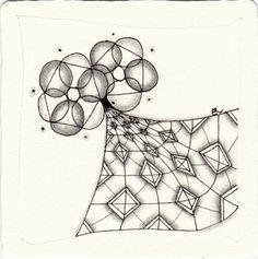 Ein Zentangle aus den Mustern Kitchener, Tso, ,  gezeichnet von Ela Rieger, CZT