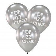 Silver Pop Fizz Clink Celebration Balloons by SSweetPartyDecor