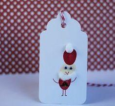 Cute Tags with Thumbprint Santas | AllFreeHolidayCrafts.com
