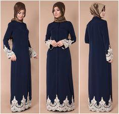 Dubia Style Open Front Trim Navy Blue Abaya Jilbab Muslim Islamic Maxi Dress