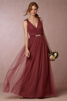 Pippa Dress in rusty rose from BHLDN
