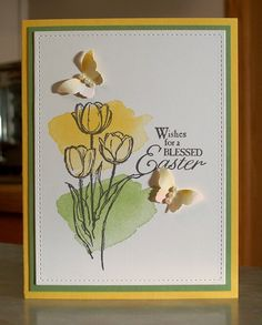 Handmade Stampin Up Blessed Easter Card - Watercolor Tulips & Butterflies