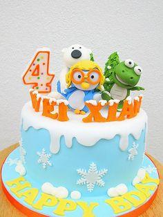 Wei Xian's pororo cake by joannefam, via Flickr 3rd Birthday, Birthday Cakes, Arctic Penguins, Cupcake Cakes, Cupcakes, Cake Ideas, Cake Toppers, First Birthdays, Rio