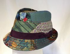 Sample of a trilby hat from upcycled ties - To order - S/M/L/XL - Made in UK #JillCorbett