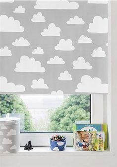 grey cloud roller blind this would be lovely for a nursery floaty and fun - Blinds For Baby Room