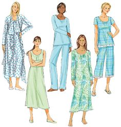 Butterick B5571 - Misses' Robe, Belt, Top, Gown and Pants - Jarmies rather than a dress, though could make the nightie into a chemise.