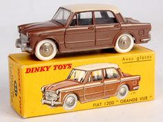 Lot 2057 - French Dinky Toys, 531 Fiat 1200 Grande Vue, metallic bronze body with cream roof, convex hubs with