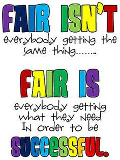 This is a GREAT way of explaining fairness regarding modifications for ELLs or different types of learners!! Definitely going in my classroom one day!!