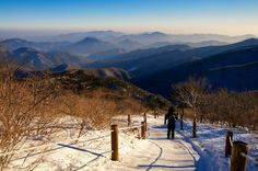 The never-ending blue ridgelines of the Taebaeksan Mountains.