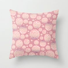 Blushing Bokeh Dots Throw Pillow by Lisa Argyropoulos - $20.00