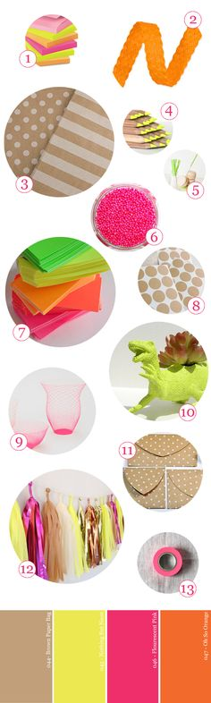 party-supply-guide-kraft-paper-neon-pink-yellow-green-orange