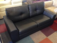 Aston Leather Sofa Bed - Black