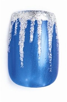 Polish the nail blue. Let dry. Use silver shimmer polish to make a purposely messy French free edge.Use a striper brush with the silver polish to drag a thin line of polish vertically partway up the nail, tapering to a point to make an icicle. #Frozennailart