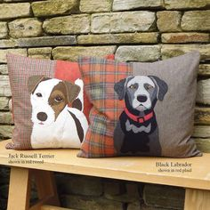 Handmade Jack russell and Labrador cushions Golden Labrador, Black Labrador, Cockerpoo, Different Types Of Fabric, Applique Quilt Patterns, Handmade Cushions, Fabric Pictures, Jack Russell Terrier, Pet Portraits