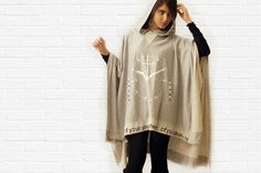 Hooded poncho grey hooded shawl by sevenseventyfashion (shmulikbenshushan - Tel Aviv Yaffo, Israel)