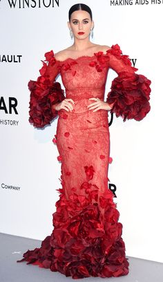 Glam at amfAR! Every Gown and Glittering Jewel at the Gala | People - Katy Perry in a red ruffled Marchesa dress