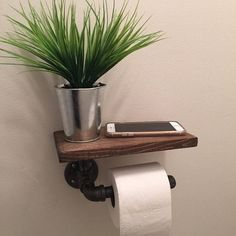 Industrial Toilet Paper holder with shelf door EdnaFayeCreations