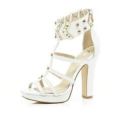 White studded platform sandals