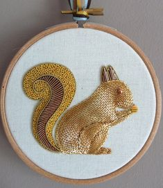 Metalwork Embroidery Squirrel KitIn this kit you can make a cute Squirrel design, embroidered in 3 Metalwork techniques over 3 layers of felt padding. The Squirrel is worked Metalwork. Hand Embroidery Projects, Gold Embroidery, Hand Embroidery Designs, Embroidery Needles, Embroidery Patterns, Yellow Crafts, Design Textile, Diy Couture, Gold Work